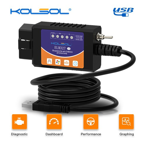KOLSOL ELM327 USB V1.5 with Switch modified for Ford ELMconfig Forscan CH340+25K80 chip HS-CAN / MS-CAN