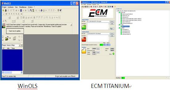 ECM Titanium comparer avec WinOLS