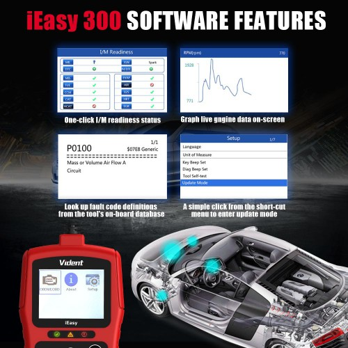 Version francaise VIDENT iEasy300 CAN OBDII/EOBD Code Reader
