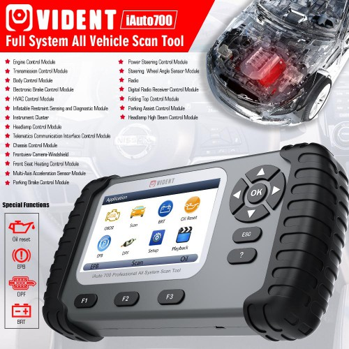 Version française VIDENT iAuto700 Professional All System Scan Tool Support EPB/Oil Service Reset/Service Mileage