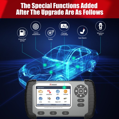 VIDENT iAuto 702Pro ABS/SRS Scan Tool with 24 Maintenances Special Funtion IMMO/DPF/Odometer/EPB/Oil Light Reset/TPS/BRT/Injector Coding