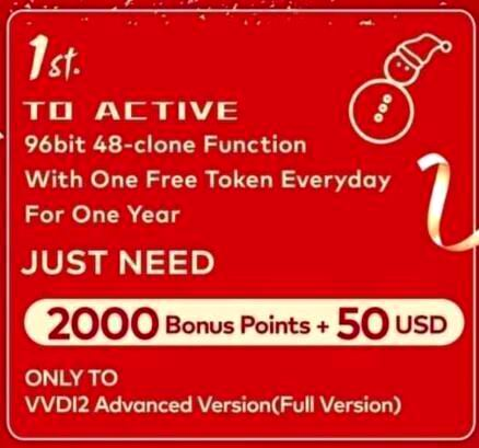 Xhorse VVDI2 96bit 48 Clone Function Activate with One Year One Free Token Everyday only For VVDI2 Full version and VVDI Key tool